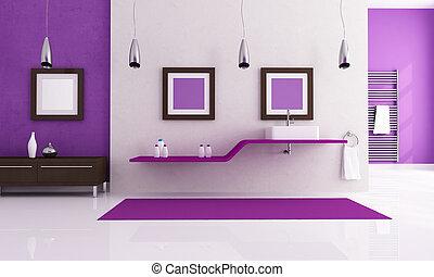 white and purple contemporary bathroom - contemporary...