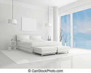 white bedroom - pure white bedroom with blue sky on...