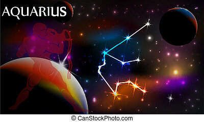 Aquarius Astrological Sign and copy space - Aquarius - Space...