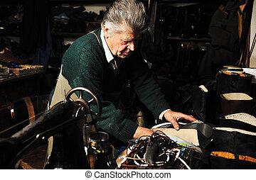 3º edad, hombre, trabajando, viejo, máquina, el...
