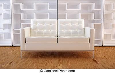 White sofa and bookcase