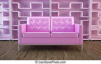 Pink sofa and bookcase - Pink modern sofa and modular...