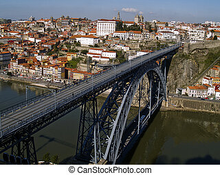Porto cityscape, Portugal - Porto old town and bridge dom...