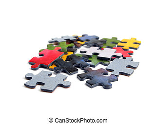 puzzle pieces - color puzzle pieces on the white background...