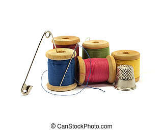 threads, needle, pin and thimble