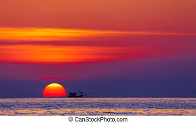 Colorful sunset, Thailand - Seascape with fishing boat at...