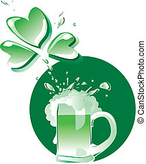 Green Patrick's beer - Vector illustration of a glass of...