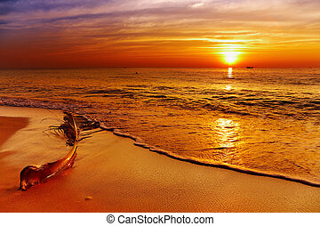 Golden sunset, Chang island, Thailand - Golden sunset,...