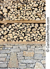 Wood and stone, wall background