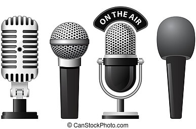 Microphone - Set of retro and modern microphones in...