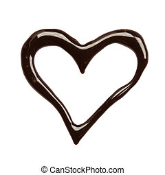 Heart - Close up chocolate syrup heart on white background