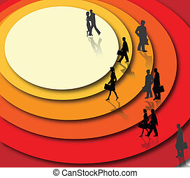 Abstract background with business people. Vector...