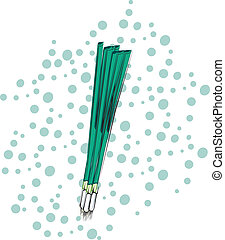 Green Onions - Green onions on a polka dot background....