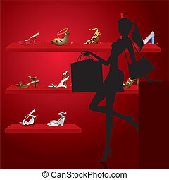 beautiful woman in shoe shop - vector illustration