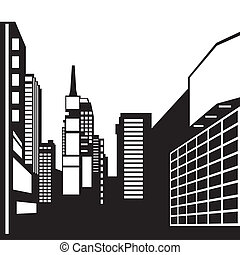 New York black and white image - Vector illustration