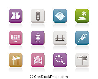Road, navigation and travel icons