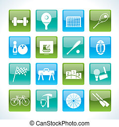 Sports gear and tools icons - vector icon set
