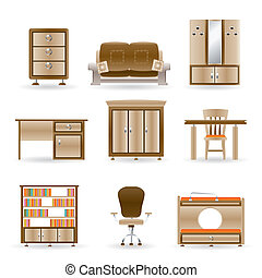home and office furniture - vector illustration