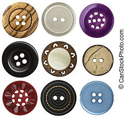 Sewing buttons - Various sewing buttons set on white...