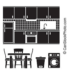 kitchen objects, furniture and equipment - vector...