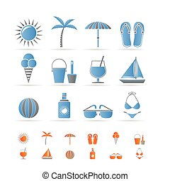 Realistic Summer and Holiday objects - Vector Illustration