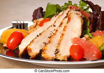 Citrus chicken salad - Fresh chicken salad with grapefruit,...