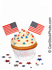 4th of July cupcake - Freshly baked cupcake with a 4th of...