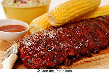 BBQ Ribs with fresh corn on the cob