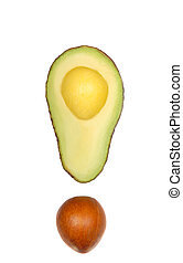 Cut Avocado - Fresh cut avocado and seed looking like an...