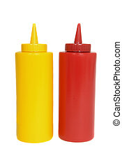 Ketchup and mustard squeeze bottles - Red and yellow ketchup...