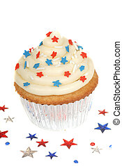 4th of July theme cupcake - Freshly baked vanilla cupcake...