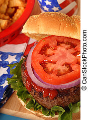 Hamburger in a 4th of July setting - Freshly grilled...