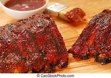 BBQ Ribs - Freshly grilled barbecue spare ribs with tangy...