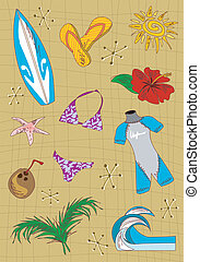 Surfing cartoon icons set.