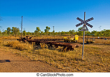 freight train - old freight train in the australian desert