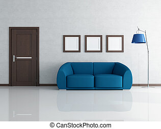 blue and gray interior - blue sofa in living room with...