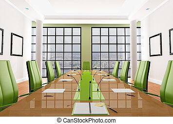 green meeting room - green elegant meeting room - rendering...