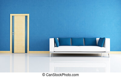 blue interior with wooden door - blue interior with modern...