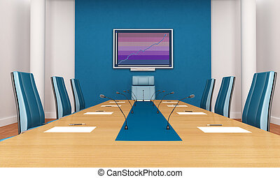 blue boardroom - blue and white boardroom - rendering - the...