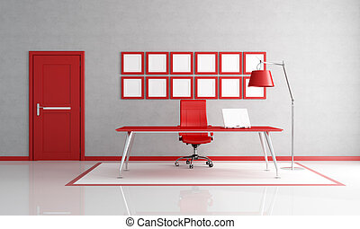 red and white office