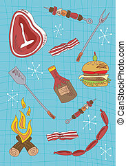 Cartoon barbecue icons set - Barbecue hand draw icons set on...