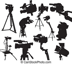 camcorders - the black silhouttes of different camcorders...