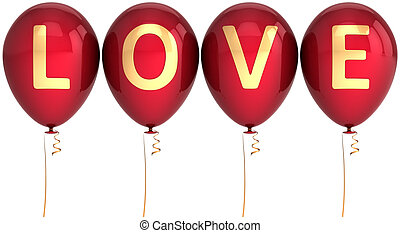 Balloons decorated with Love word