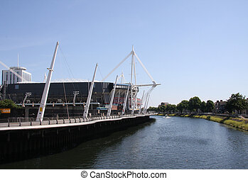 Millennium Stadium Cardiff, large white mast upright