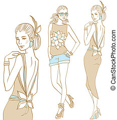 Flower Power - Female fashion models set in doodle style
