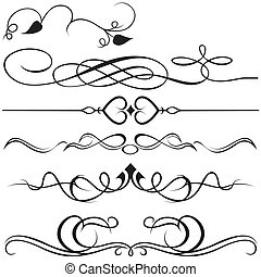 Calligraphic design elements - black illustration, vector