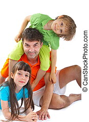 Uncle with niece and nephew - Happy portrait of uncle with...