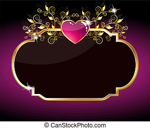 heart card  - Vector sparkling purple heart card