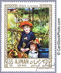 Renoir - On the Terrace - AJMAN - CIRCA 1967: A stamp...