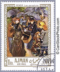 Renoir - The umbrellas - AJMAN - CIRCA 1967: A stamp printed...